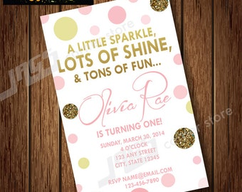 Printable PINK & GOLD INVITATION - Pink Gold Party Invitation - Pink Gold Invite - Pink Gold Themed Invitation - Child's Birthday
