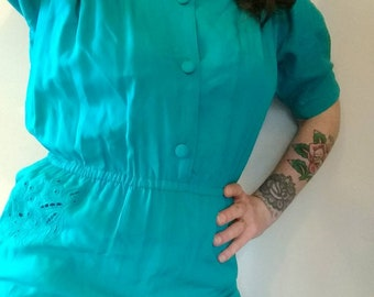 80s vintage teal cutwork jumpsuit