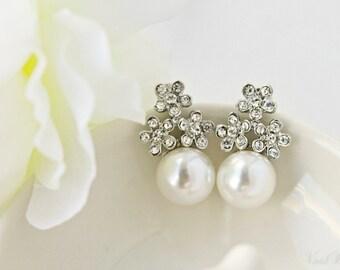 Three Little Flowers Earrings - Bridal Jewelry
