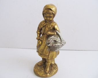 Figurines, Collectibles, Gold Figurines, Girl with Basket, Girl with Bunny, Girl with Bunny and Basket, Vintage Figurines