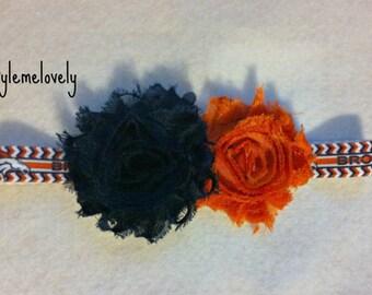 Denver Broncos Baby girl Shabby Flower Bow Elastic Headband