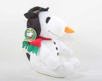 Whitman's, Snowman Snoopy, Plush, Toy, Peanuts, White, Dog, Red Scarf, Black Hat, Pointy Carrot Nose, Soft, Stuffed ~ The Pink Room ~ 161105