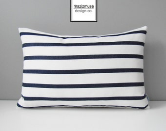 Navy Blue & White Striped OUTDOOR Pillow Cover, Nautical Sunbrella Pillow Cover, Decorative Stripes, Throw Pillow Case, Modern Cushion Cover