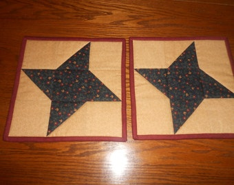 Quilted Star Potholders/ Quilted Hotpads/Country Potholders/ Item # 561