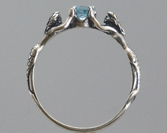 Mermaid ring with Blue Topaz or Stone of Your Choice ~ Size 3 to 9