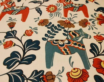Fabric white red blue brown flowers Swedish Dala Horses Modern Scandinavian Design Cotton Fabric Scandinavian Design Scandinavian Textile