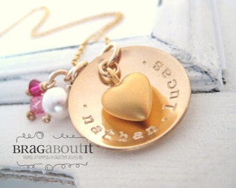 Hand Stamped Jewelry - Personalized Necklace - Brag About It - Cup Filled With Love
