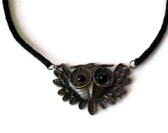 Owl necklace - kumihimo braid - fused glass eyes - large owl