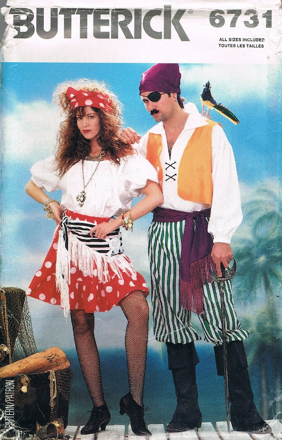 Size XS-XL Pirate & Wench Costume Sewing Pattern Couples