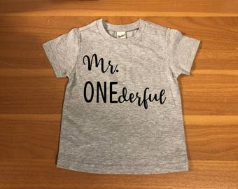 Mr ONEderful! - 1st Birthday shirt -Birthday Shirt -Front and Back design -Name on back -first birthday -one year -Mr Wonderful -onederful