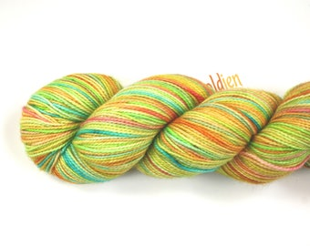 Just Ducky--hand dyed sock weight yarn, 2 ply merino, cashmere, nylon (400yds/100gm)