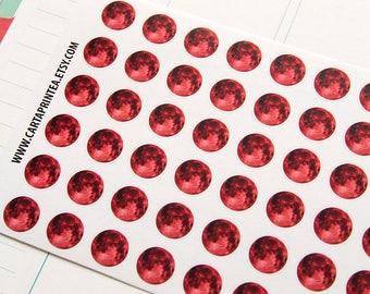 54 roten Vollmond Aufkleber, Zeitraum Aufkleber, Sticker, Hai Woche Erinnerung, Eclp Filofax glücklich planner