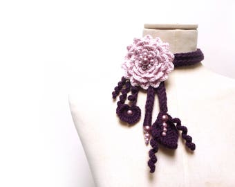 Crochet Lariat Necklace - Pink Flower and Purple Leaves with Glass Pearls - LITTLE PEONY