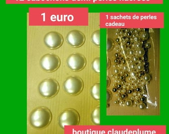 12 cabochons half pearls + 1 bag of beads gift