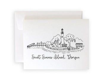 Saint Simons Island Skyline Notecard Set