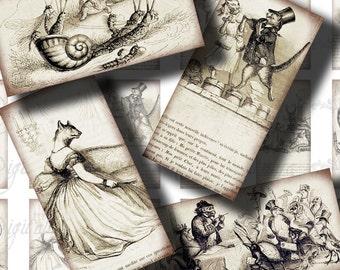 Privée et la vie publique des animaux (1) feuille de Collage numérique - Illustrations anthropomorphe - Dominos 1 x 2 pouces ou taille de bambou