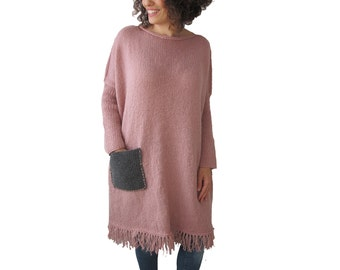Powder Pink Hand Knitted Dress with Gray Pocket