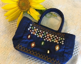 Blue Small Tote Wallet Bag Vintage Arizona Jean Company Handbag Indian Ethnic Style Purse With Mirrors and Beaded Flowers Boho Hippie Gypsy