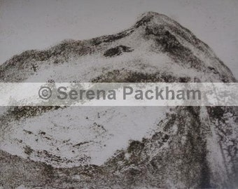Digital Print of an Ink Print of a Welsh Mountain Scene