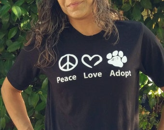 Peace Love Adopt tee