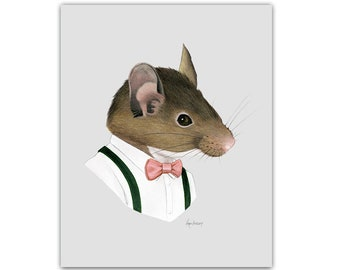 Mouse Gentleman print 5x7 - Animal art - Modern Nursery - Nursery Art - Dapper Animals - Storybook Art - Ryan Berkley - Berkley Illustration