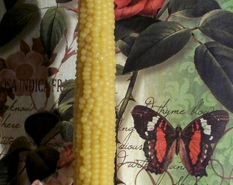 Beeswax 2 Corn Taper Candles 8.5 Inches Tall Fits Standard Taper Holder Thanksgiving