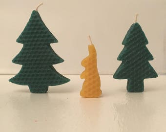 Beeswax candles forest trees bunny