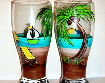 Palm Trees Beach Ball Beach Chair Umbrella Sail Boat Set of 2 - 19 oz. Beer Glasses Wedding Hand Painted Beer Glasses Anniversary