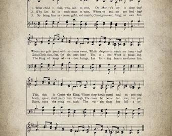 What Child Is This Christmas Hymn Print - Sheet Music Art - Hymn Art - Hymnal Sheet - Home Decor - Music Sheet - Print - #HYMN-P-030