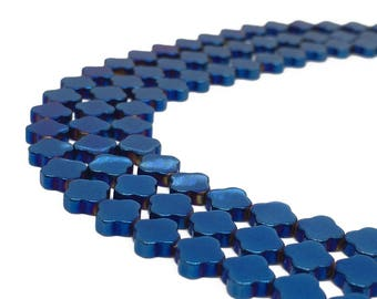 1Full Strand 6mm Four Leaf Clover Hematite Beads,Hematite Beads For Jewelry Making