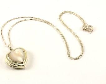 Vintage Heart Shape Locked Pendant Necklace 925 Sterling Silver NC 1414