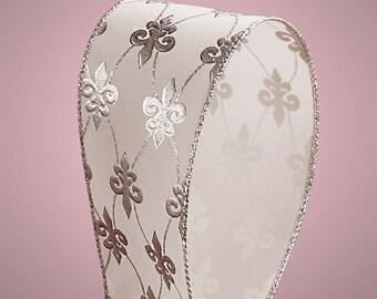 """5YDS x 2-1/2"""" Silver & White FLEUR DE LIS Floral Print Wired Edge Ribbon (Free Shipping!)"""