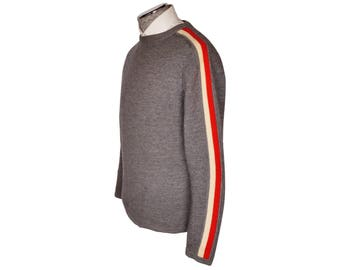 Vintage 1960s White Stag Ski Sweater Grey w Red White Stripes Mens Size M