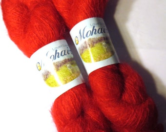 2 skeins Brushed Mohair Yarn Red Louet worsted weight