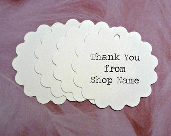 """White scalloped Flower Tags 1.75"""" with twine ties . personalized pricing, product or gift tags . bright white thank you tags . shop supplies"""