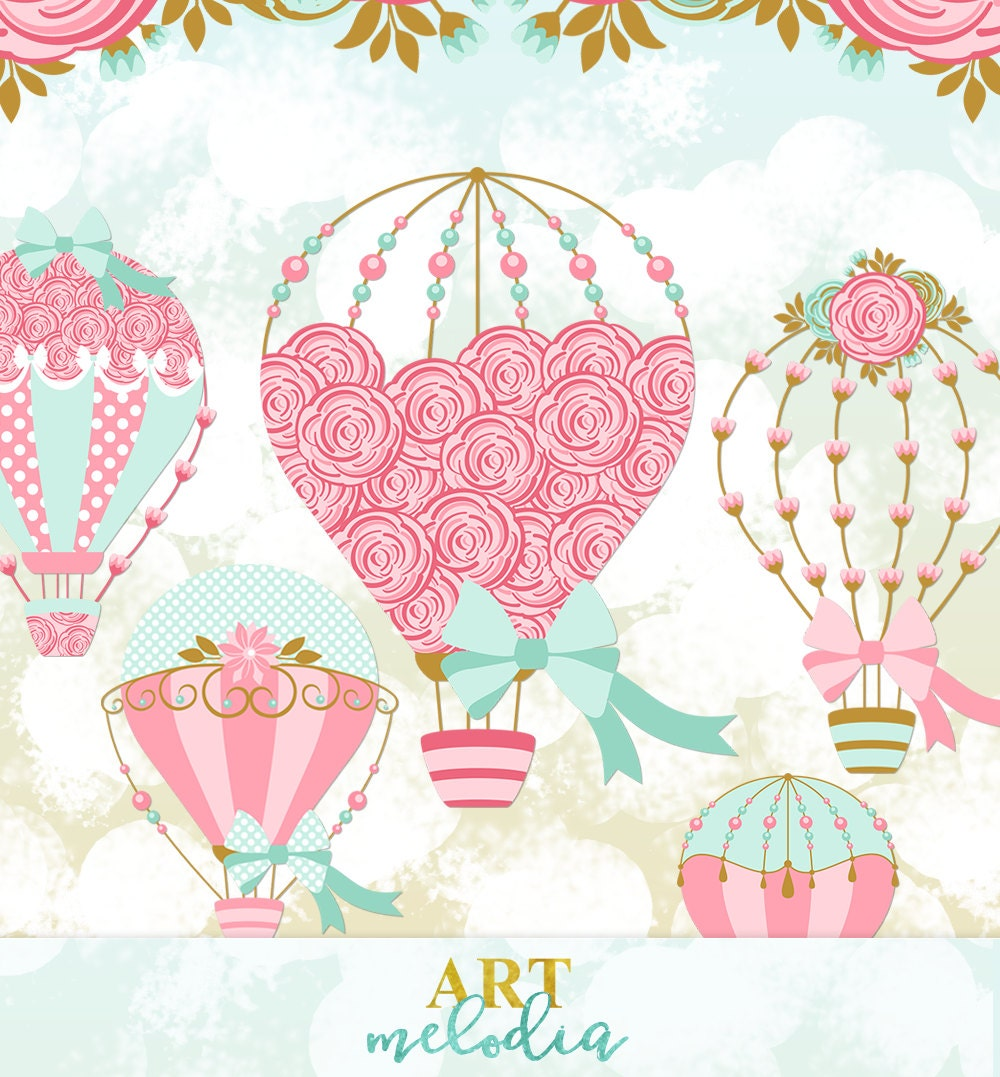 Digital Hot Air Balloon Clipart, Wedding Hot Air Balloon