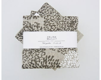 Linen Fat Quarter - Tigre gray and white - hand screen printed linen by celina mancurti - Free Shipping to USA