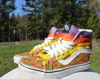 Hand Painted High Top Vans - Desert Sunset Shoes