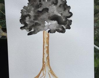 Black Leaf Watercolour Tree
