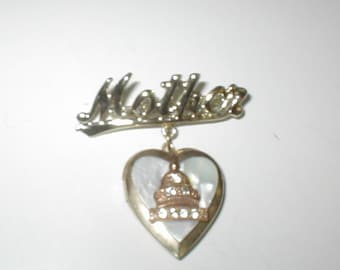 Vintage 1940's MOTHER Brooch Pin with Heart Locket