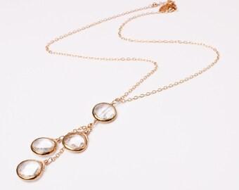 Clear Quartz Bezel Set 3-Drop Necklace on 14k Gold-Filled,  Faceted Gemstones, Lula Designs, Bridesmaid gift