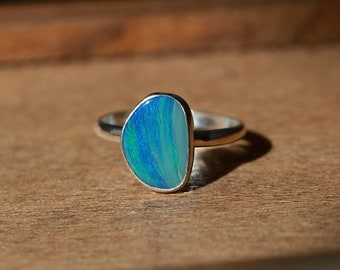 Australian Opal Doublet Ring, Sterling Silver Ring -- US Size 5.5