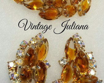 Vintage Juliana D&E gold tone Mrquise and AB Chaton Rhinestone Brooch Earrings
