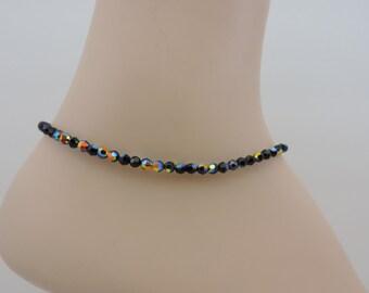 Black Ankle Bracelet, Jet Aurora Borealis Crystal Anklet, Swarovski Crystal Ankle Bracelet, Black Anklet