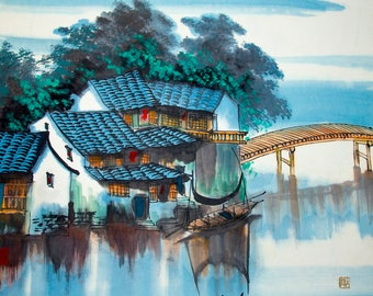 River Village in China With A Vessel  Chinese Watercolor Style Painting On Canvas With Acrylic Gallery Wrap 76X91X3.8 Centimeters