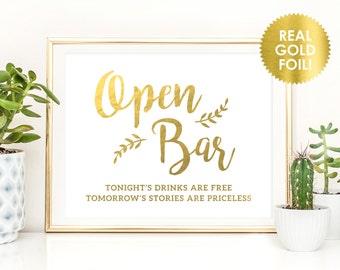 Open Bar Foil Sign / Reception Sign / Bar Sign /  Wedding Reception Drink Sign / REAL Gold Foil / PeonyTheme
