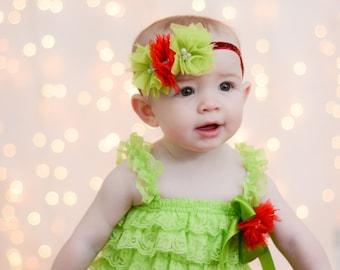 2 Piece Set Lime Green Lace Petti Romper Set/Baby-Girls Sizes, Photo Prop/Set or Seperates/Romper & Headband Set