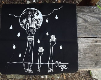 Grow Hands Grow - Hand Screen Printed Black Back Patch