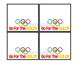 "Printable Instant Download Olympic ""go for the gold"" Treat Bag Tag Label"