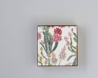 Cacti Garden Coasters Botanical Ceramic Coasters Tile Drink Coasters Blush Pink Mother's Day Gift